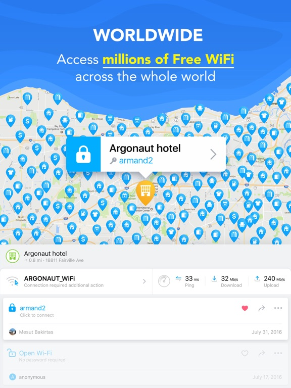 WiFi Map — Passwords for free wireless internet access in public places hotspots. Good alternative for roaming. screenshot