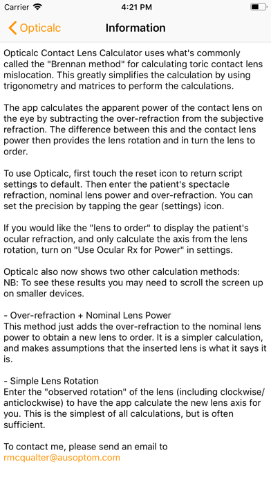 Opticalc Contact Lens Calc review screenshots