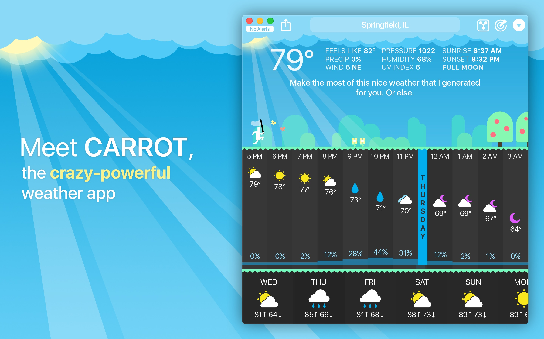 Screenshot do app CARROT Weather