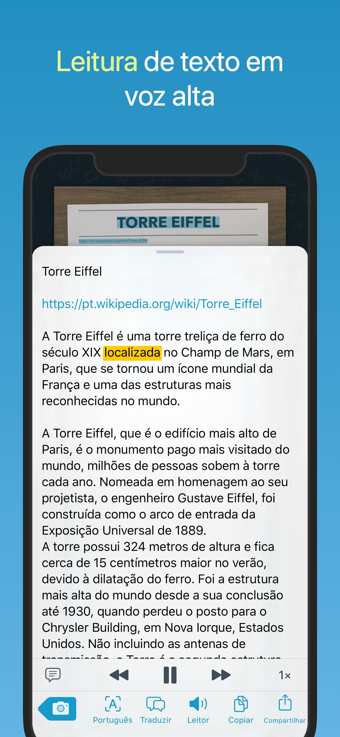 Screenshot do app Prizmo Go › Text Grabber