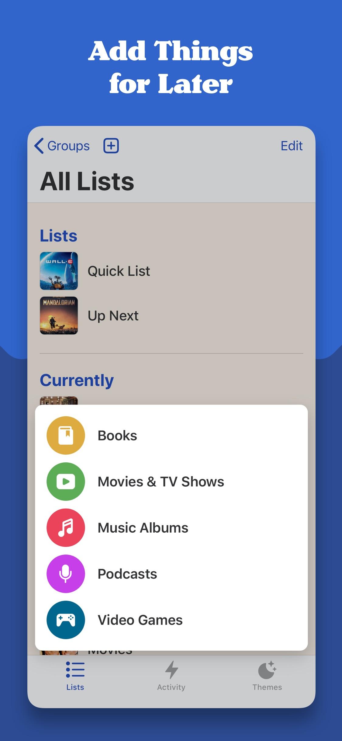 Screenshot do app Sofa: Downtime Organizer