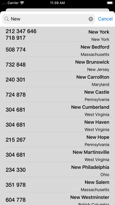 Area Codes - Moved Screenshot