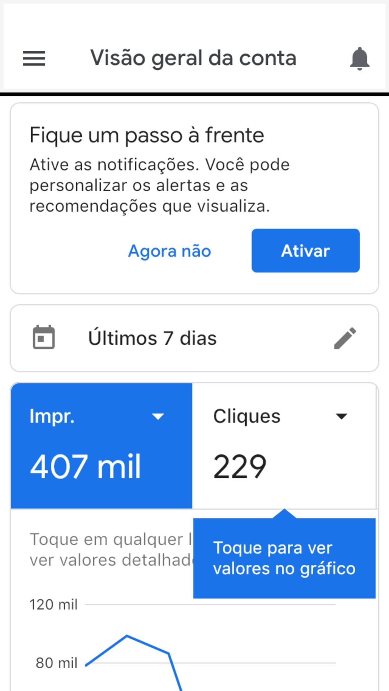 Screenshot do app Google Ads: Cresça seu Negócio