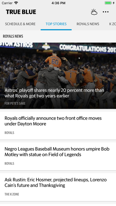 True Blue–Royals Baseball News Screenshot