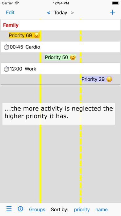 Activities and Priorities screenshot two