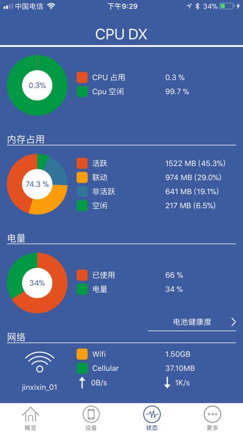 CPU Dasher - 查询CPU主频和降频及电池损耗 App 截图