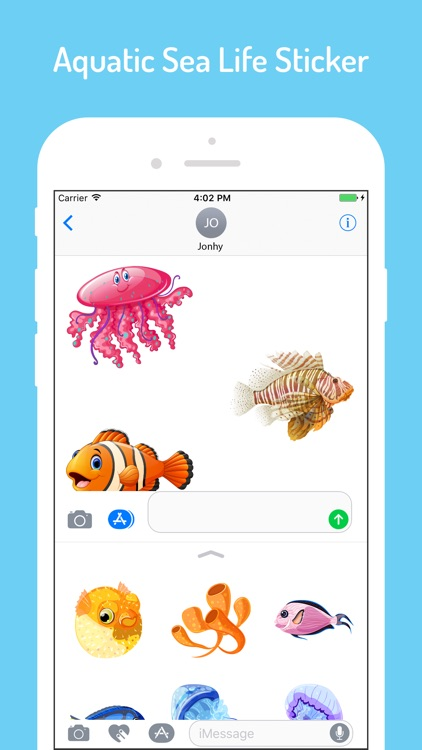 Aqua Sea Life EMojis screenshot-3
