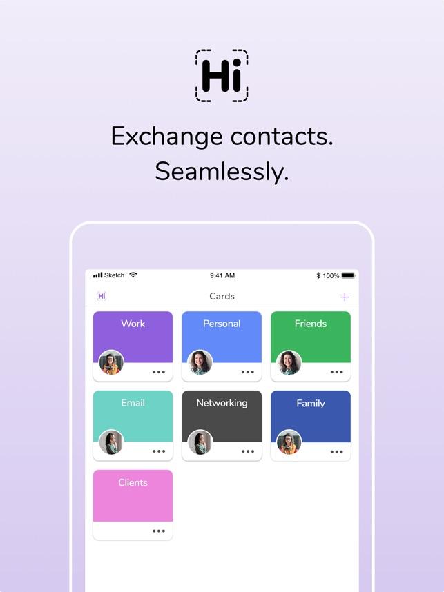 HiHello Contact Exchange Screenshot