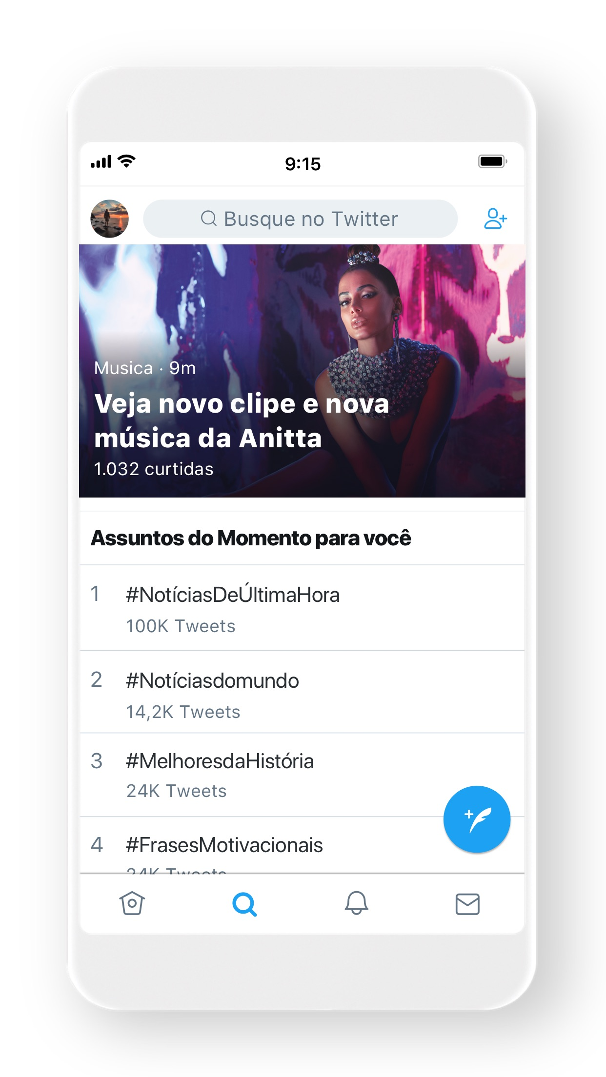 Screenshot do app Twitter