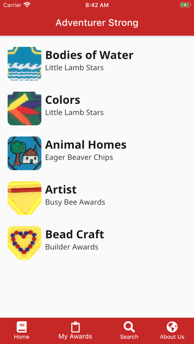 Screenshot of Adventurer Strong Award Finder App