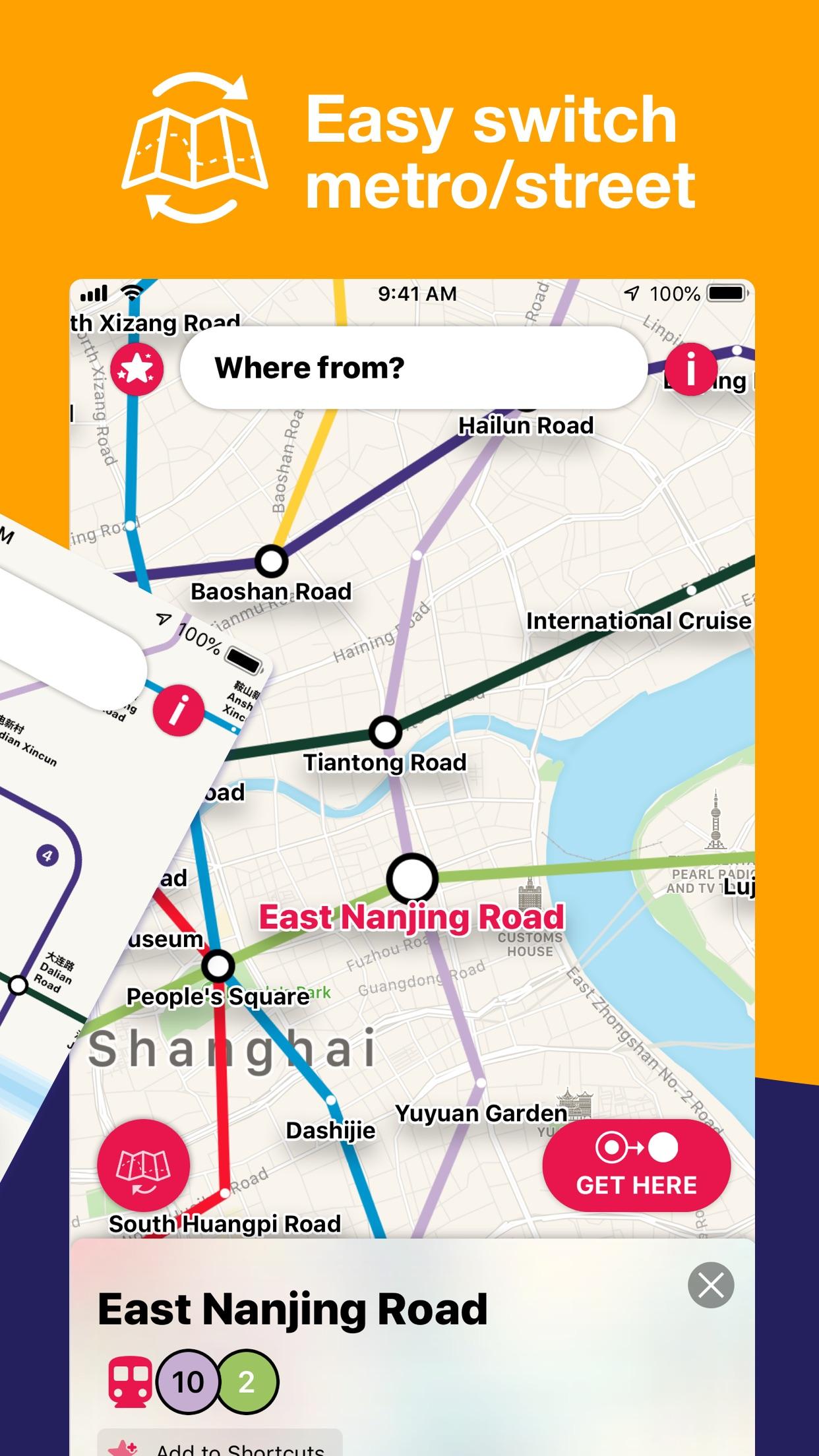 Screenshot do app Shanghai Metro Interactive Map