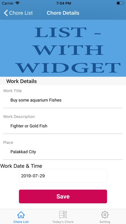 Chore List - with Widget