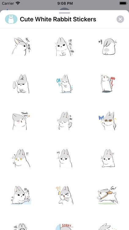 Cute White Rabbit Stickers