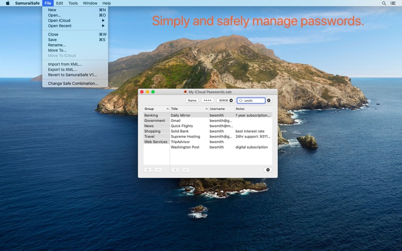 Update: SamuraiSafe: Password Manager  (Productivity)