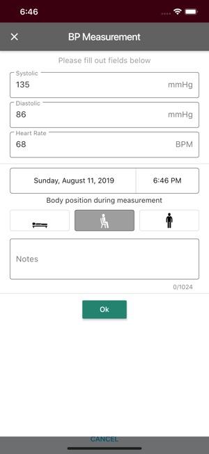 Sphygmo Home Blood Pressure Screenshot