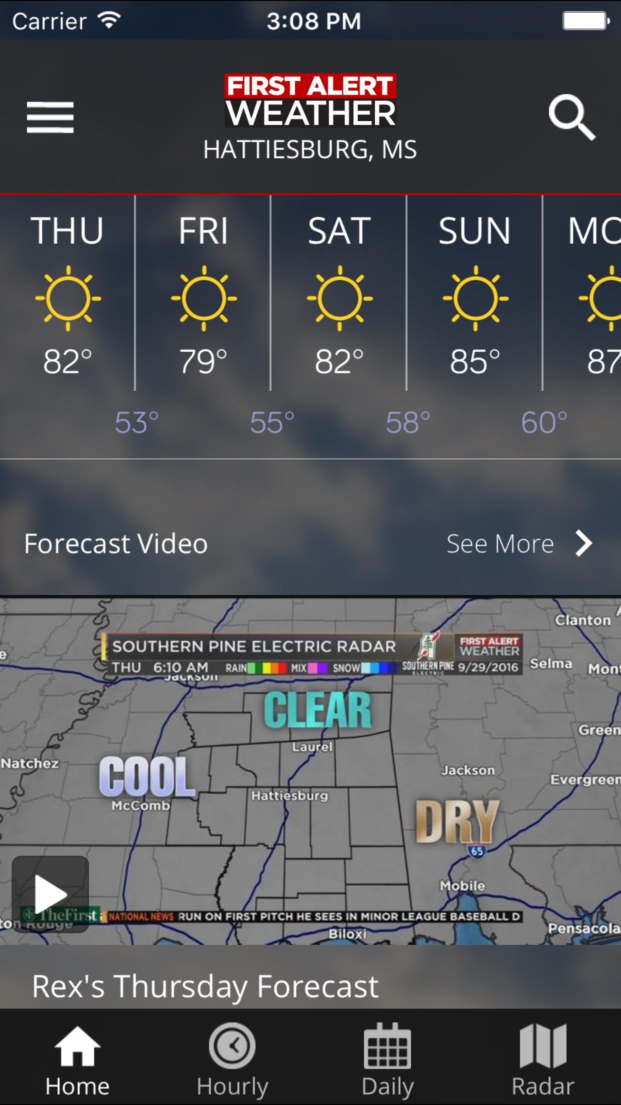 WDAM 7 First Alert Weather Screenshot