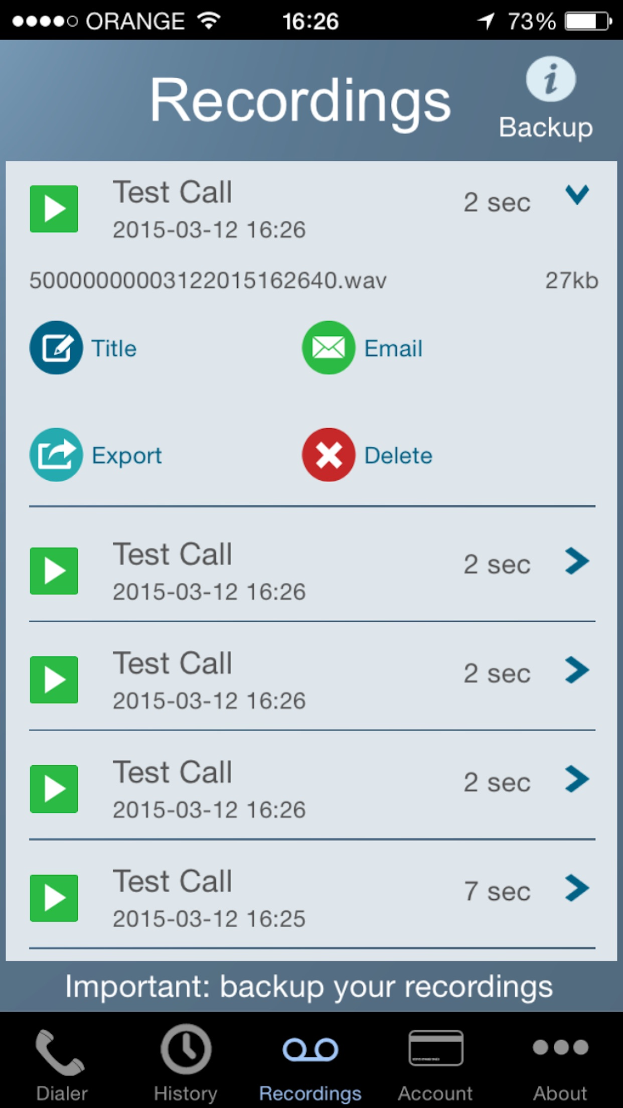 Call Recorder - IntCall Screenshot