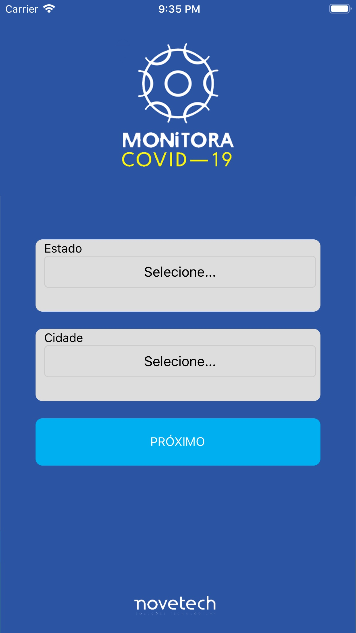 Screenshot do app Monitora Covid-19