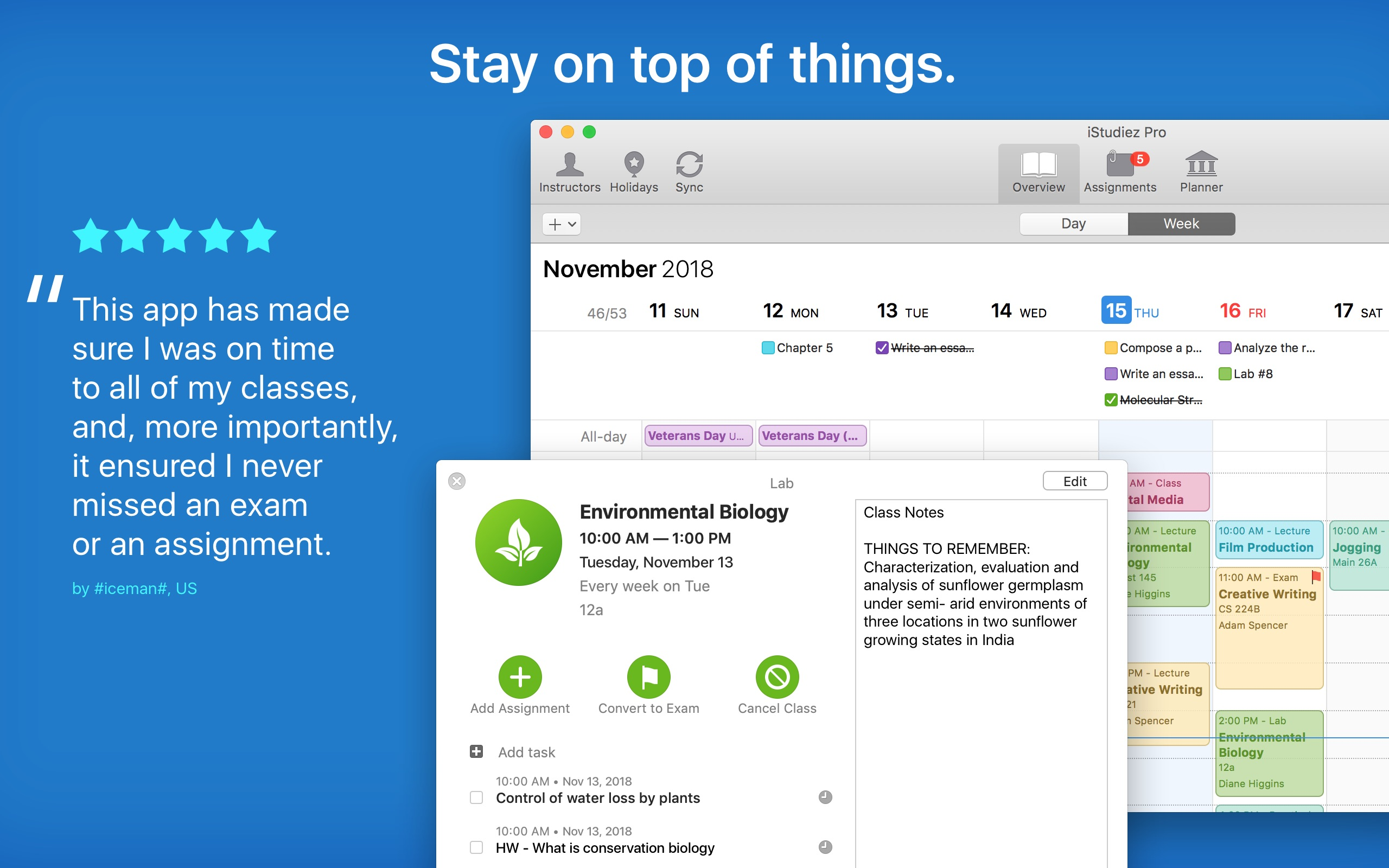 Screenshot do app iStudiez Pro Legendary Planner