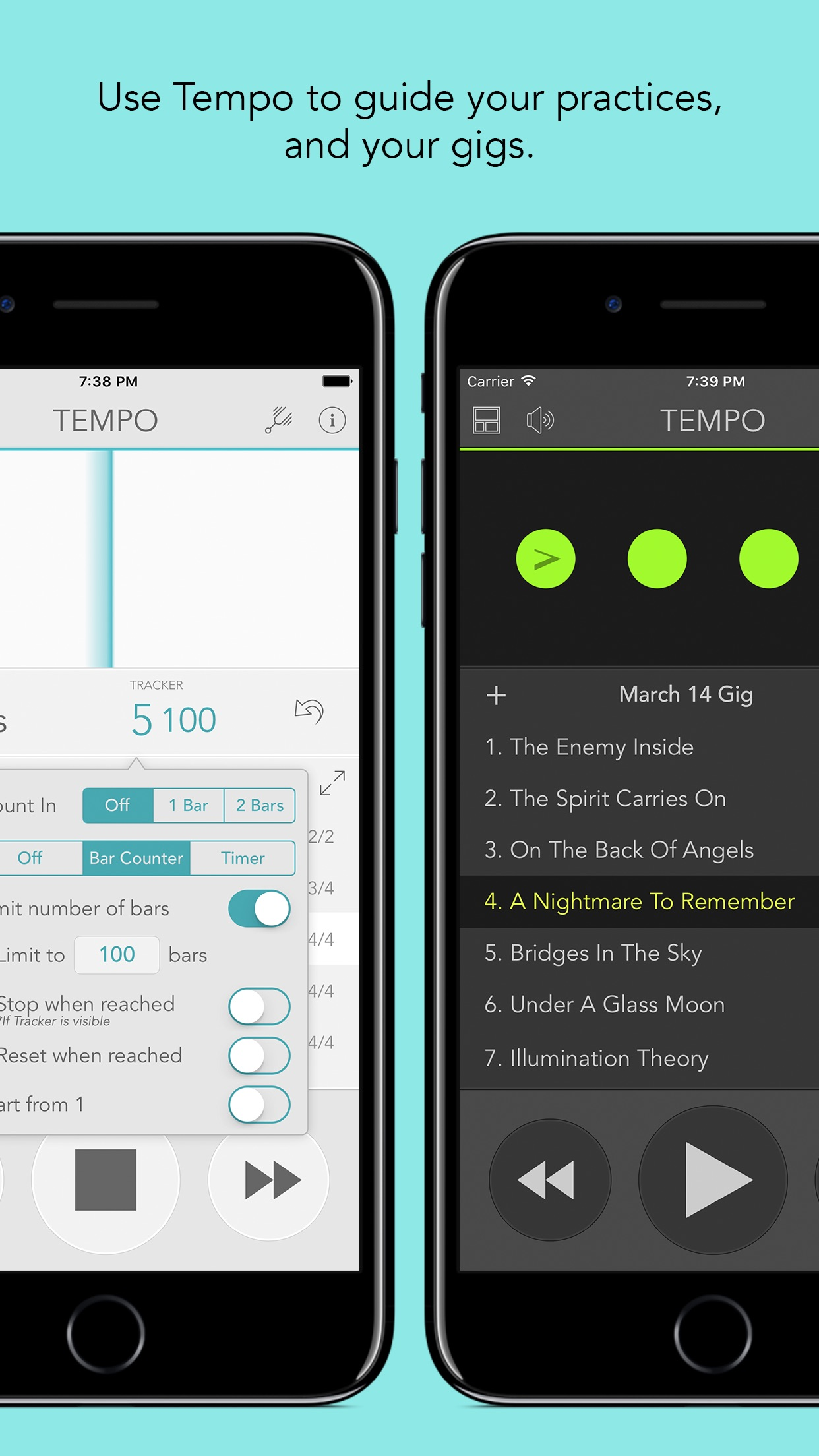 Tempo - Metronome with Setlist Screenshot