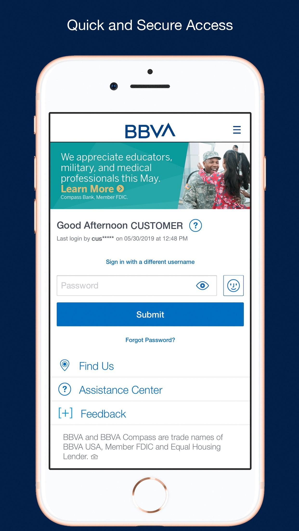 BBVA United States Screenshot