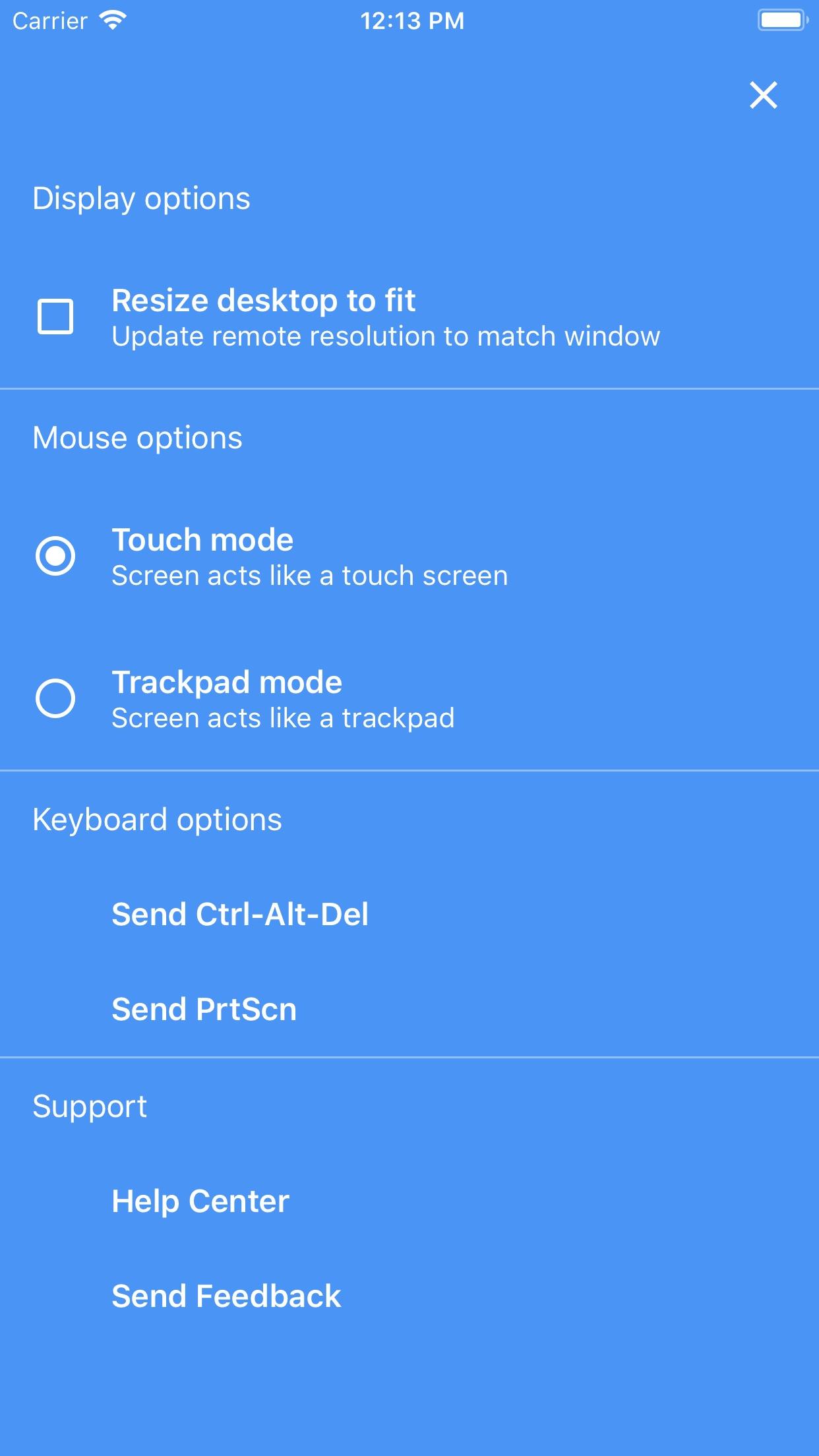 Screenshot do app Chrome Remote Desktop