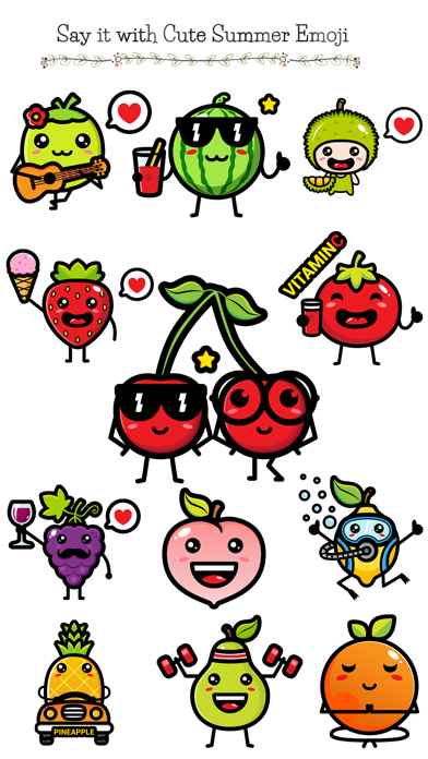 174 Cute Emoji - Summer Fruits screenshot 1