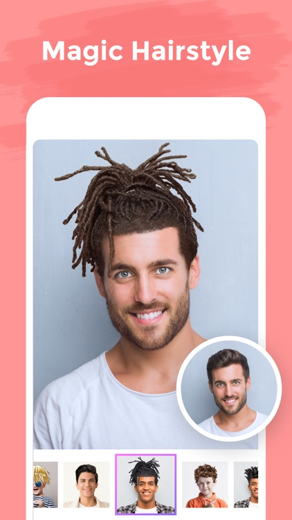 illus: Cartoon Face Hair Salon