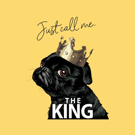 King Pug Stickers