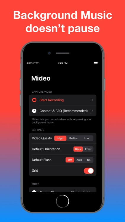 Mideo: Record Video With Music
