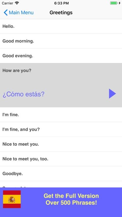 Speak Spanish Phrasebook Lite