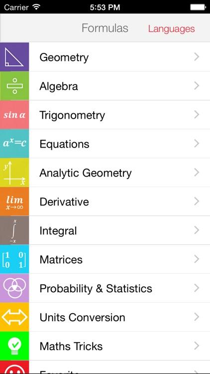 Maths Formulas Lite
