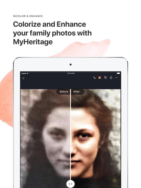 MyHeritage ipad ekran görüntüleri
