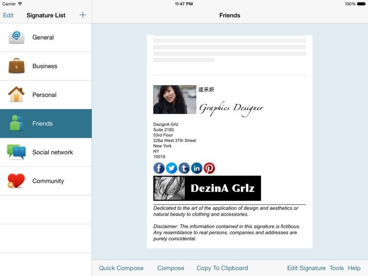 Email Signature iPad Edition