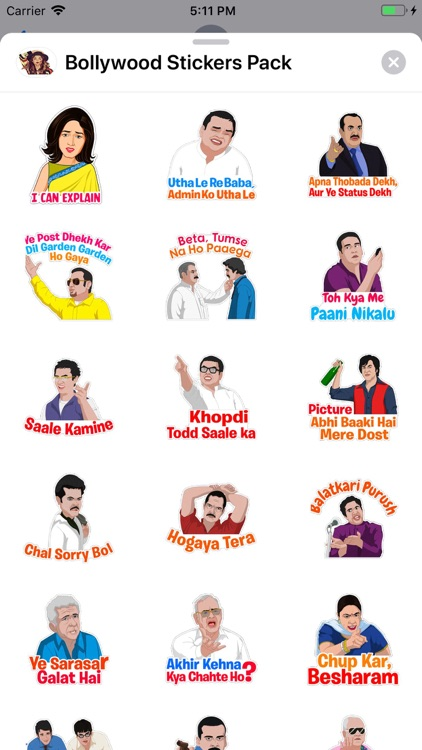 Bollywood Stickers Pack