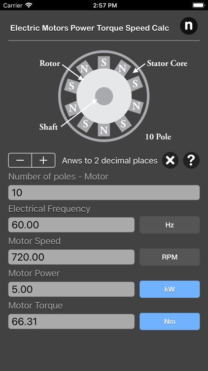Electric Motors Speed Calc