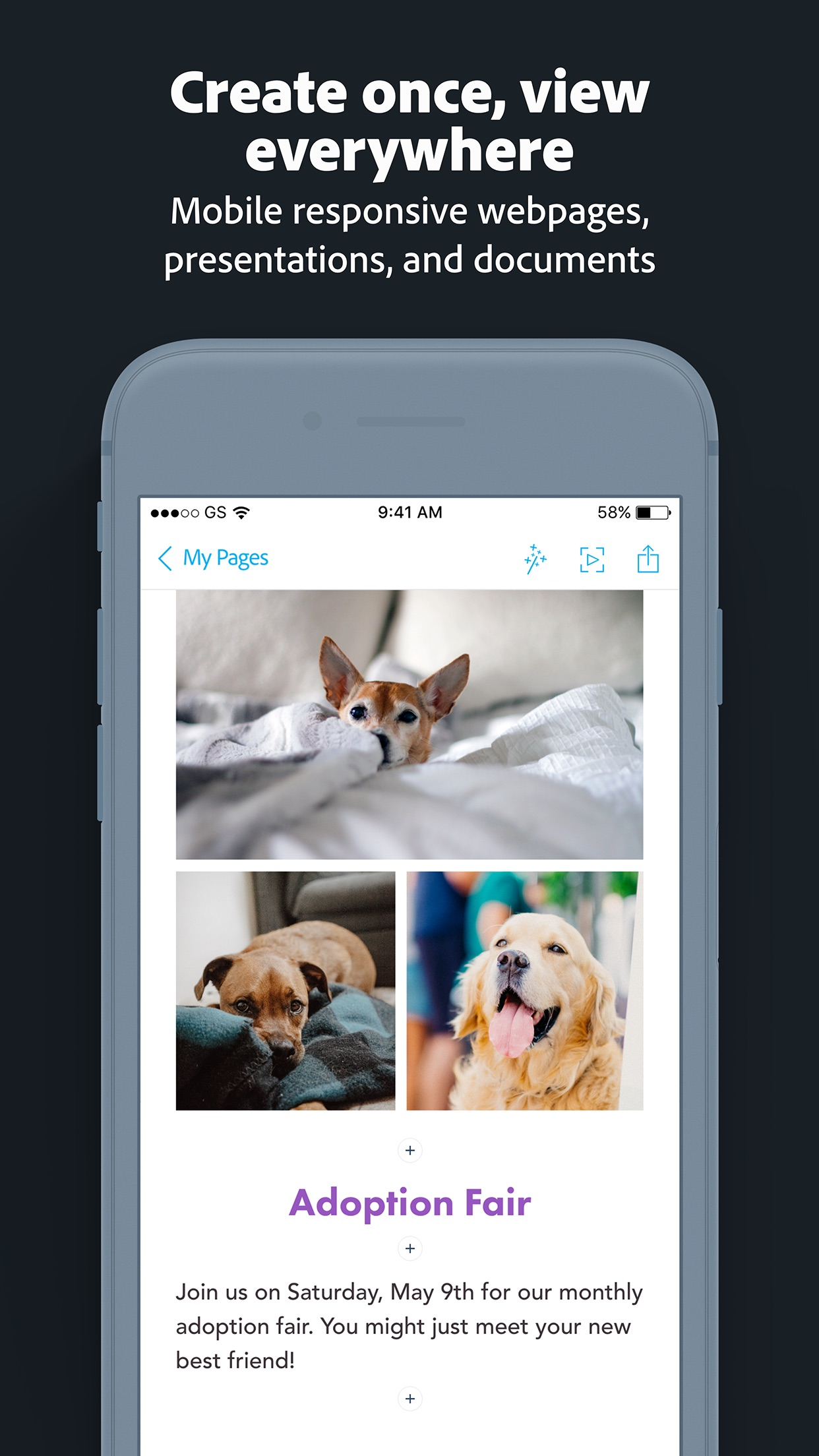 Screenshot do app Adobe Spark Page
