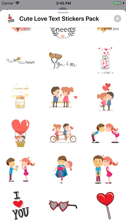 Cute Love Text Stickers Pack