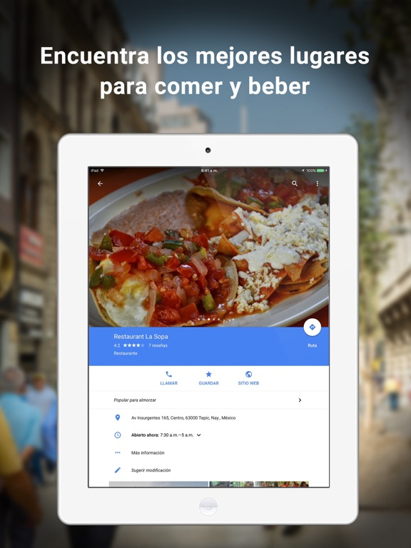 Google Maps - trafico y comida
