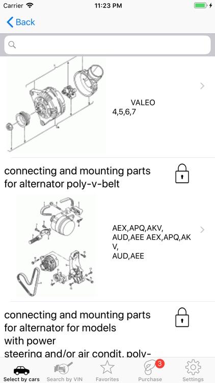 Seat parts and diagrams screenshot-3