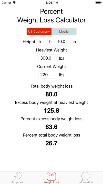 Weight Loss Surgery Calculator