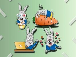 Rabbit Stickers - Bunny Emojis