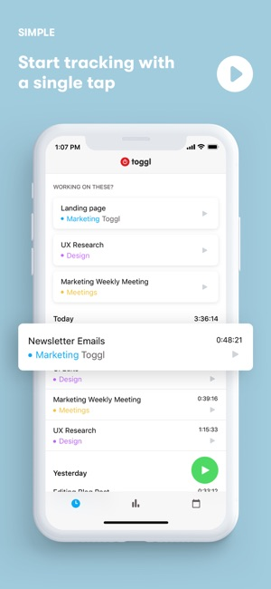toggl time tracker for work on the app store