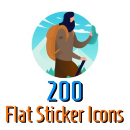 200 Flat Sticker Icons