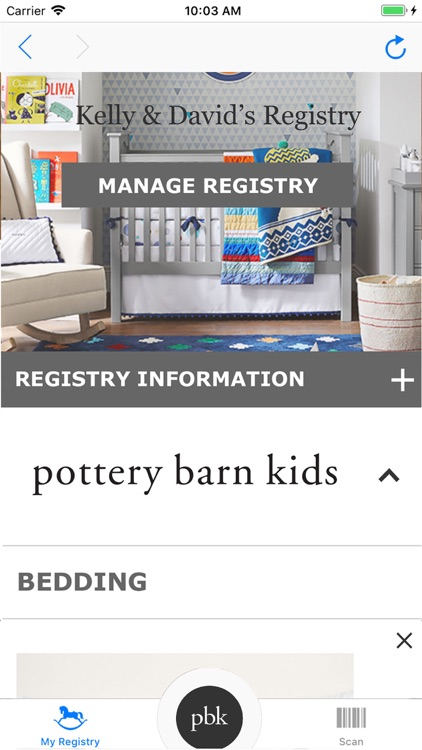 Pottery Barn Kids Registry