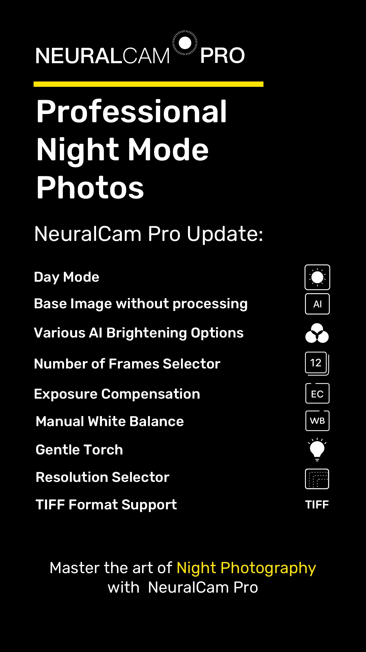 Screenshot do app NeuralCam: Modo Noturno Câmera