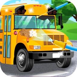 School Bus Car Wash Games