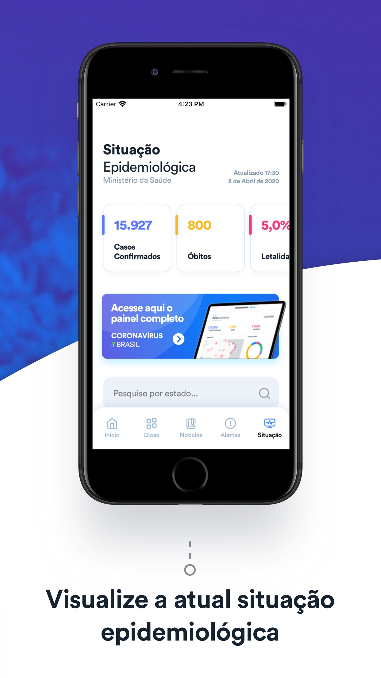 Screenshot do app Coronavírus - SUS