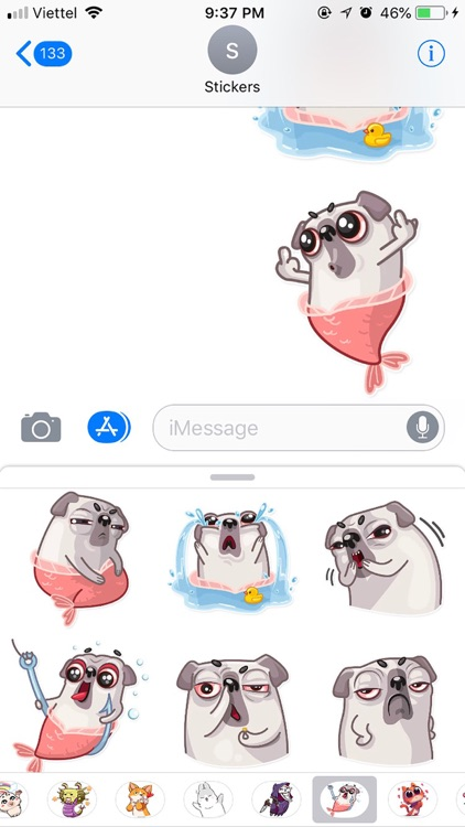 Water Pug Dog Funny Stickers