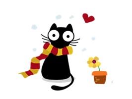 Cute & Weird Black Cat Sticker